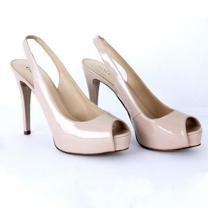 GUESS Nude Sling Back Heels Sz 7.5 M